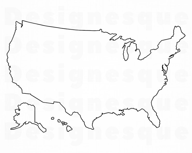 US Map Outline Svg, United States Map Outline Svg, USA Map Outline Svg, US  Map Clipart, Files for Cricut, Cut Files For Silhouette, Dxf, Png