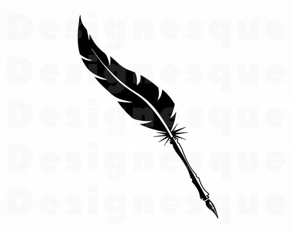 feather clipart feather quill pen feather svg bundle feather fountain pen silhouette svg png dxf eps cricut file silhouette cameo