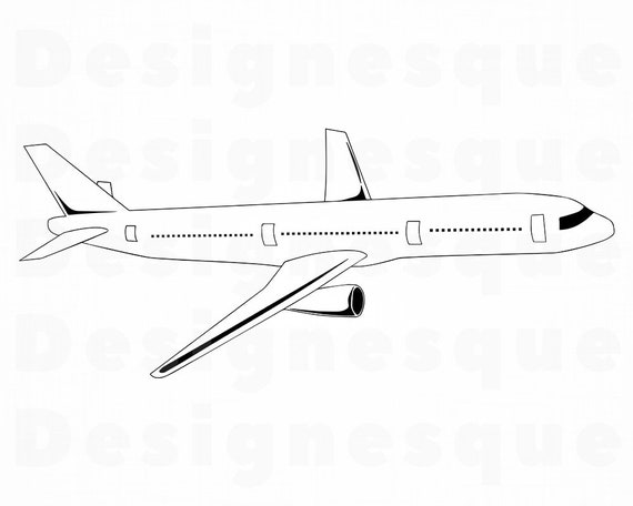 Airplane Outline Svg Airplane Svg Aircraft Svg Airplane Etsy