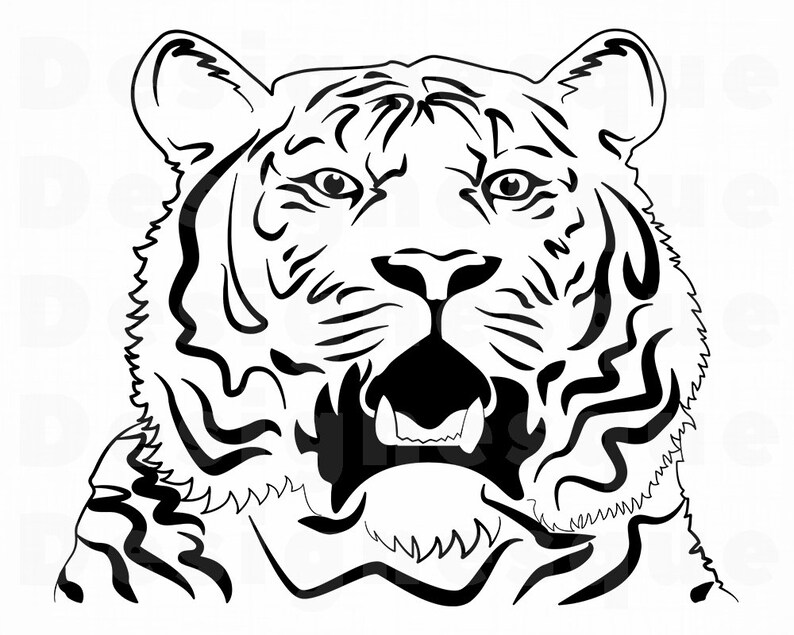 Tiger 5 Svg Tiger Svg Tiger Outline Tiger Clipart Tiger