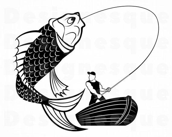 Download Man Fishing Svg Fishing Svg Fishing Clipart Fishing Files Etsy