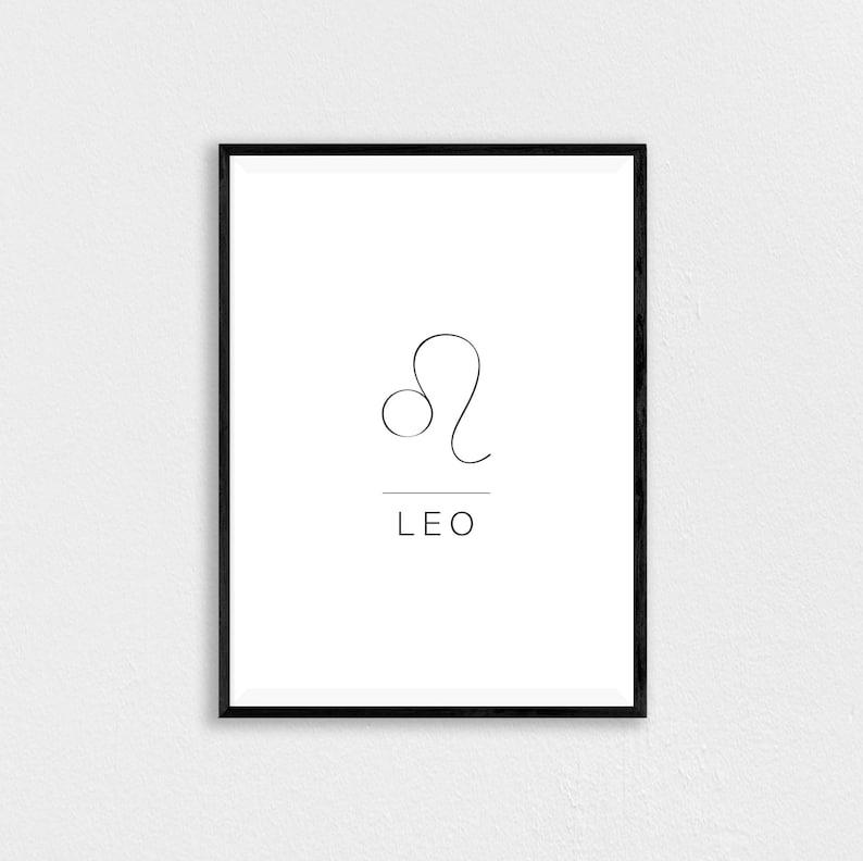 Leo Print, Astrology Poster, Minimalist Zodiac, Zodiac Sign, Minimalist  Wall Art, Zodiac Print, Leo Birthday Gift, Astrology Wall Art, Lion