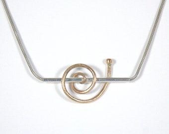 Modern Bronze & Sterling Necklace