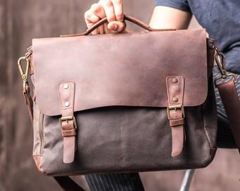 4544c87fb73 Mens Leather Satchel Bag Canvas Satchel