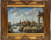 Antique oil painting on wood panel, European harbor city view, framed, unsigned
