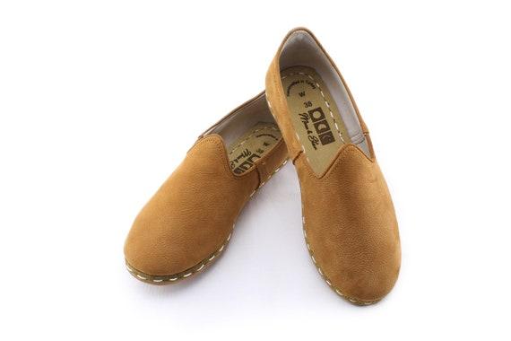 Kairo Kamel, Frauen Lederschuhe, handgefertigt, Slip Ons, flache Schuhe, Leder Wohnungen