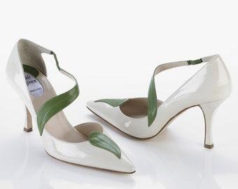 ivory shoes, leaves shoes, elegant shoes, evening shoes, high heeled shoes, italian shoes, women's shoes, women's pumps, fine leather shoes