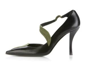 black shoes, leaves shoes, high heels shoes, women's shoes, black pumps, leather shoes, evening shoes, suede pumps, elegant shoes, handmade