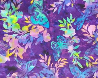 Aflutter purple cotton woven quilting fabric
