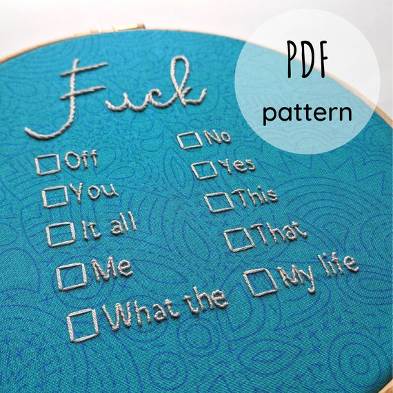 """Downloadable Embroidery Pattern - Fuck... multiple choice hoop - 8"""""""