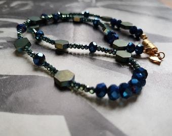 by FecreationsFR. Blue Hematite vintage necklace of pearls cat head pastel blue vintage