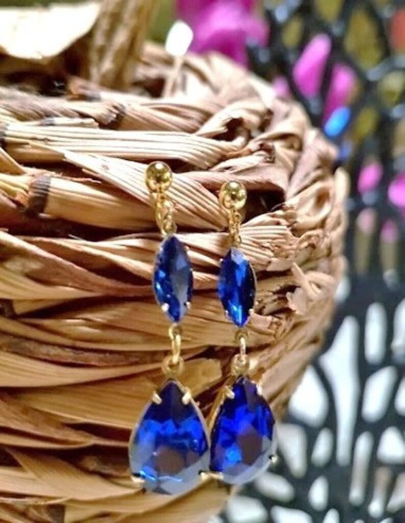 glass royal blue Venice glass pendants for women by FecreationsFR. Earrings drops blue