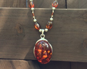 Beaded Necklace with Amber Pendant