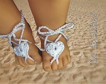 Heart Barefoot Baby Sandals - Crochet Pattern - Instant Download - PDF