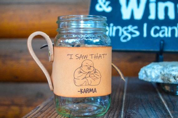 genuine leather wrap w oz mason jar funny buddha quote