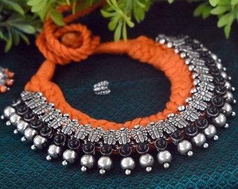 Threaded Kolhapuri Temple Necklace