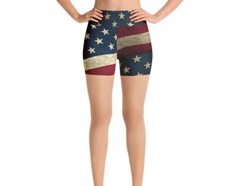 Yoga Shorts - Vintage Look American Flag / Patriotic USA, Perfect for 4th of July, Memorial Day