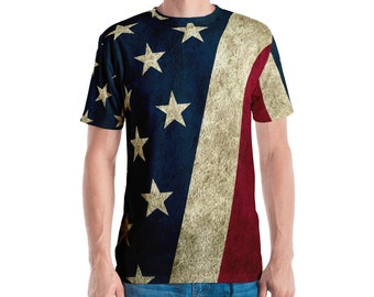 Men's T-shirt - Vintage Look American Flag / Patriotic USA, Perfect for 4th of July, Memorial Day