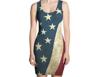 Dress - Vintage Look American Flag / Patriotic USA, Perfect for 4th of July, Memorial  Day