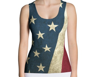 Tank Top - Vintage Look American Flag / Patriotic USA, Perfect for 4th of July, Memorial Day