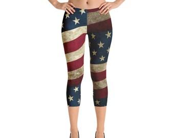 Capri Leggings - Vintage Look American Flag / Patriotic USA, Perfect for 4th of July, Memorial Day