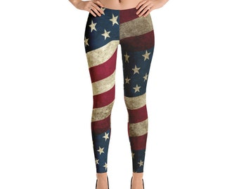 Leggings - Vintage Look American Flag / Patriotic USA, Perfect for 4th of July, Memorial Day