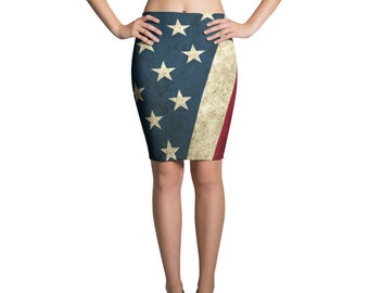 Pencil Skirt - Vintage Look American Flag / Patriotic USA, Perfect for 4th of July, Memorial Day