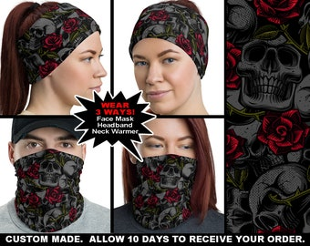 Black Skulls and Roses 2 Funky Unisex Gothic Halloween Bandana Scarf Head Tie