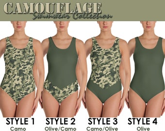 1192e667d2 One-Piece Swimsuit - Camo Camouflage   Olive Green Military Army inspired.  Allow 2 weeks to receive (See Size Chart - last image)