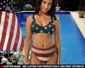 USA 1 - High Waisted Bikini Swimsuit - Show your national pride with this Vintage American Flag Patriotic swimsuit 4th of July Summer Gift