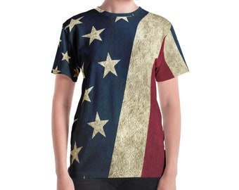 Women's T-shirt - Vintage Look American Flag / Patriotic USA, Perfect for 4th of July, Memorial Day