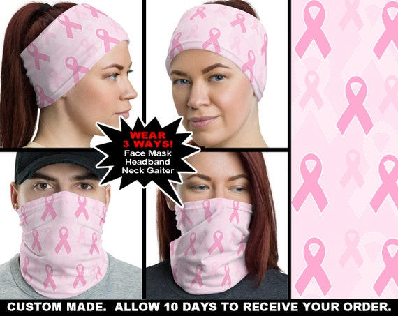 Breast Cancer Awareness 1 Face Mask Covering Headband Neck Etsy