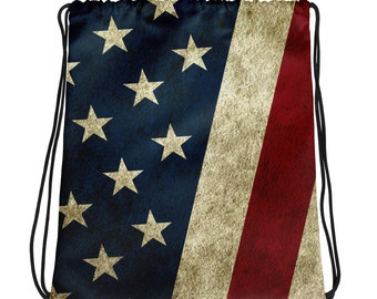 Drawstring bag - Vintage Look American Flag / Patriotic USA, Perfect for 4th of July, Memorial Day