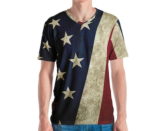 Men's V-Neck T-shirt - Vintage Look American Flag / Patriotic USA, Perfect for 4th of July, Memorial Day