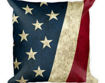 Square Pillow - Vintage Look American Flag / Patriotic USA, Perfect for 4th of July, Memorial Day