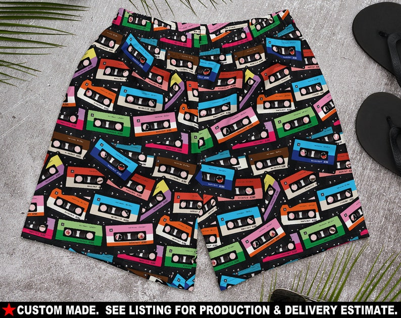 See Estimated Delivery RETRO 4a Mens Athletic Shorts Cassette tapes pop music disco 70s 80s 90s rock n roll gift