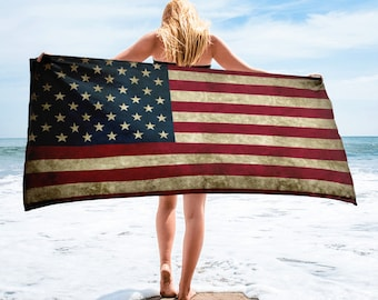Beach Towel - Vintage Look American Flag / Patriotic USA, Perfect for 4th of July, Memorial Day