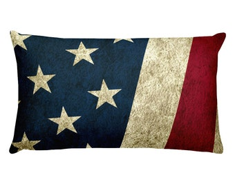 Rectangular Pillow - Vintage Look American Flag / Patriotic USA, Perfect for 4th of July, Memorial Day