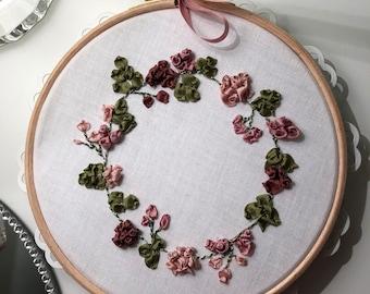 Silk ribbon embroidery hoop art