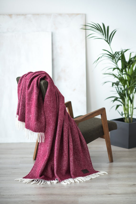 Wool Throw Blanket, Sofa throw, Dark red bedding, Wool blanket home,  Blankets & Throws