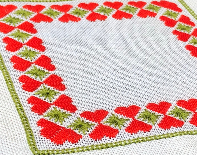 Vintage Swedish Embroidered Table Cloth Hand Made Scandinavian Embroidery  Home Decor Red Hearts and Green Stars