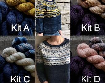 SIREN SWEATER kit (dyed-to-order): This Bird Knits // Single Ply Fingering weight sock yarn (Superwash Merino Wool) // sweater kit yarn set