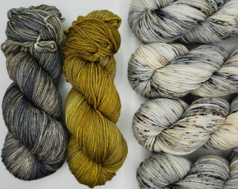 Hand-dyed yarn TECUMSEH SWEATER kit: Caitlin Hunter Boyland Knitworks // DK weight sock yarn (Superwash Merino Wool) // sweater kit yarn set
