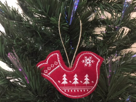 Swedish Christmas Ornament.Swedish Christmas Bird Ornament Embroidered On Red Felt With White Stitching Nordic Holiday Decor
