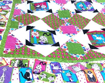 Crazy kitty quilt double