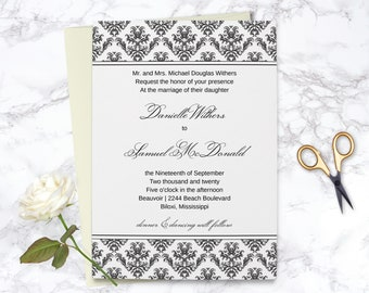 damask invitations etsy