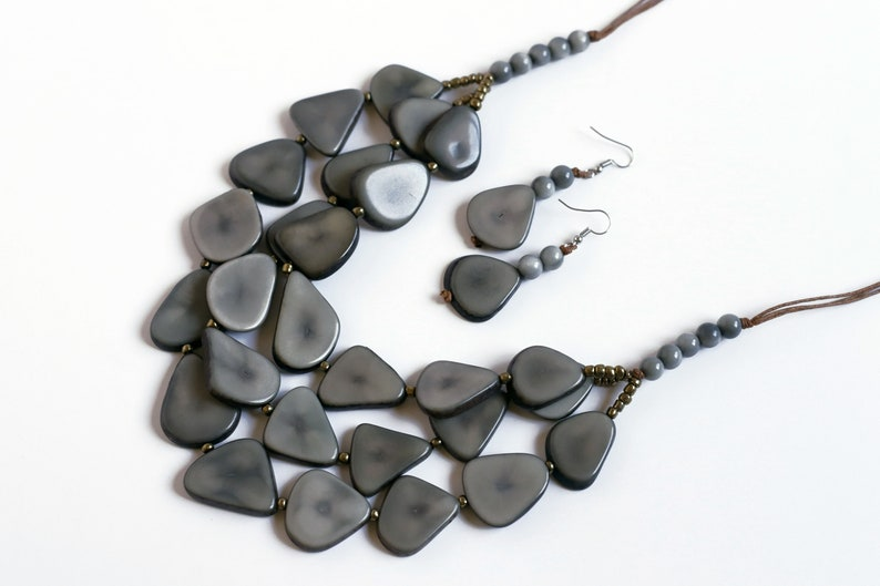 Grey Statement Tagua Necklace Set with Earrings-Eco Friendly-Sustainable Beaded Jewelry-Bold Gift Idea Mom Sister Fall Handmade Nut