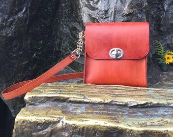 Natural Vegetable Tanned Leather Handbag, Leather Purse, Tan Leather Purse, Shoulder Leather Bag, Leather, Handcrafted Leather Handbag