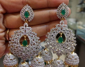 f381ffb17 The Grand American Diamonds Jhumkas/Earrings in Emerald and Ruby Colors (1gm  Gold)-Traditional & Fashion Indian Jewelry for Brides, Weddings