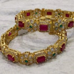 Indian Jewelry-Traditional Pair of Bangles in 92.5 Silver & 22K Gold Polish with American Diamonds,Ruby's,Emeralds-Wedding Jewelry-Bridal